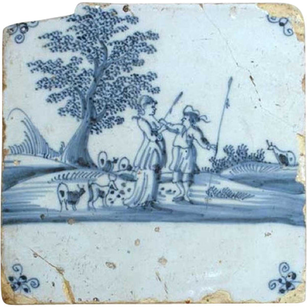 Dutch Delft Blue and White Pottery Tile