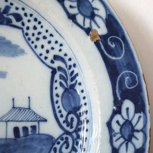 Large Dutch Delft Blue and White Pottery Plate