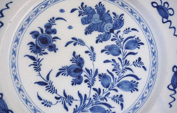 Dutch Delft Blue and White Faience Pottery Charger Plate