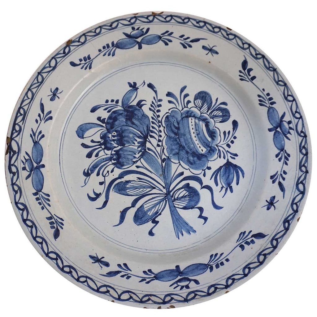 Dutch Delft Blue and White Faience Charger Plate  sc 1 st  Eron Johnson Antiques & Antique Dutch Delft Blue and White Pottery Charger Plate