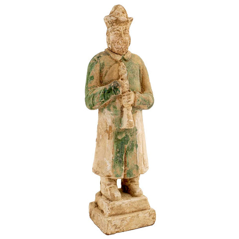 Chinese Ming Dynasty Glazed Pottery Musician Attendant Tomb Figure