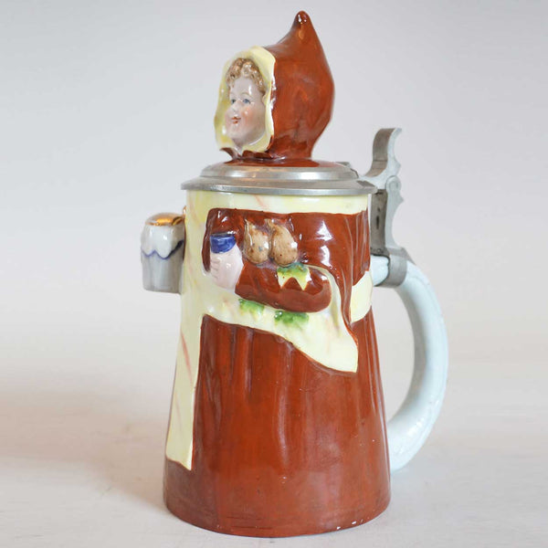 German E. Bohne Pewter Mounted Porcelain Munich Child Character Stein