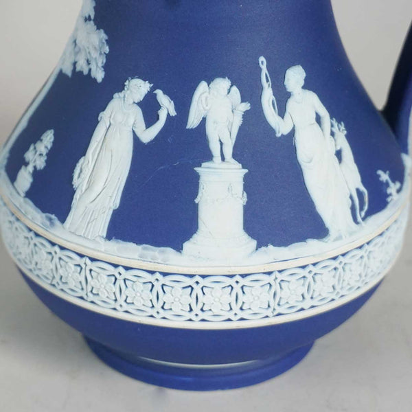 Set of Three English Wedgwood Dark Blue Jasperware Graduated Pitchers