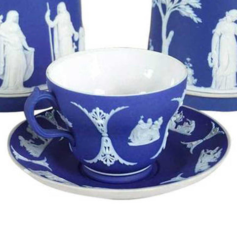 Vintage English Wedgwood Dark Blue Jasperware Pottery Teacup and Saucer