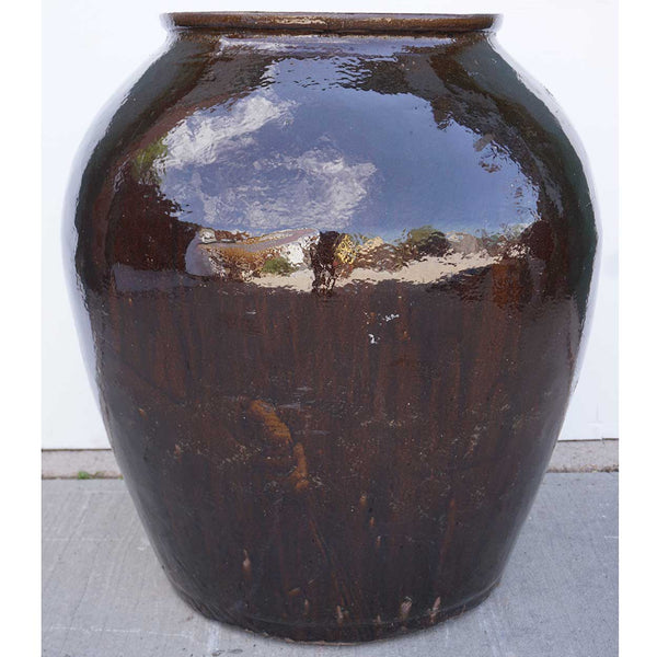 Large Chinese Shiny Brown Glazed Pottery Garden Pot