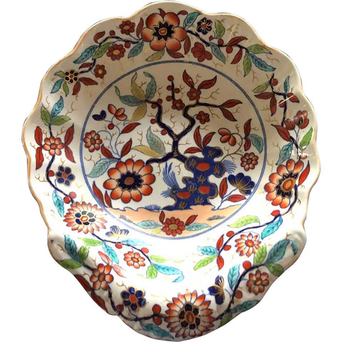 Small English Georgian Spode New Stone China Imari Style Shell Dessert Dish