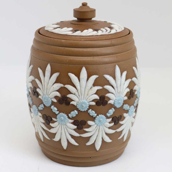 English Doulton Lambeth Silicon Ware Stoneware Pottery Tobacco Jar