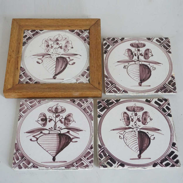 Four Dutch Delft Manganese Pottery Flowering Urn Tiles