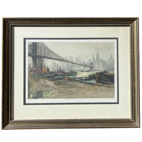 LUIGI KASIMIR Colored Aquatint Etching, New York Brooklyn Bridge #2