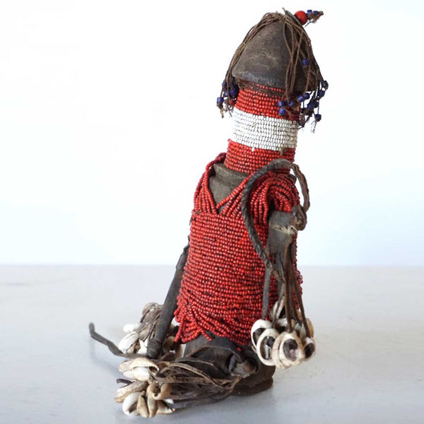 African Cameroon Wooden and Beaded Fali Ritual Fertility Doll (Ham Pilu)