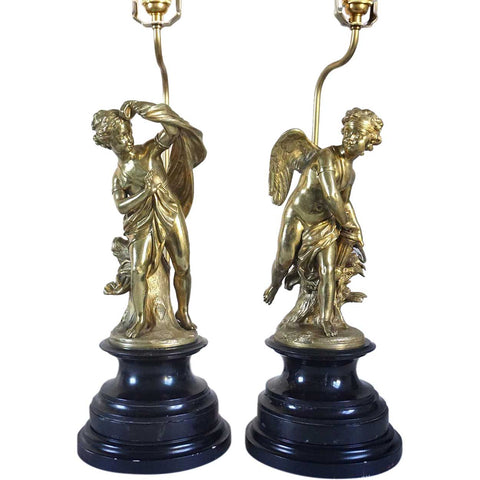 Pair of French Louis XVI Gilt Bronze Statues of Cupid and Psyche as Table Lamps