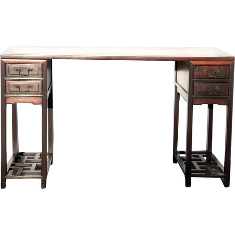 Chinese Qing Hongmu and Mixed Hardwoods Three-Part Tall Writing Desk/Painting Table