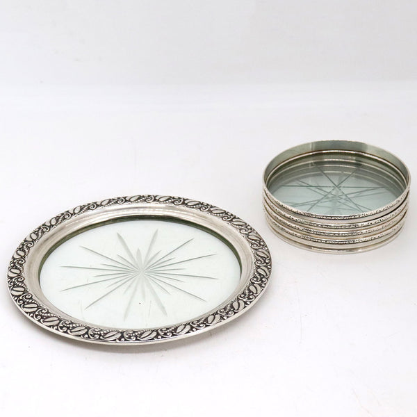 Five Vintage American Webster and Lunt Sterling Silver and Glass and Bottle Coasters
