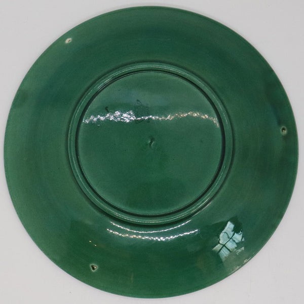 German Zell Green Majolica Relief Moulded Basketweave and Apple Plate