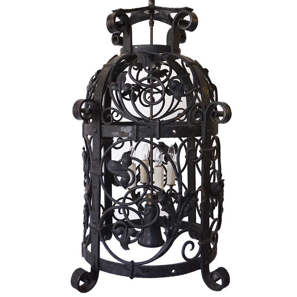 American Victorian Wrought Iron Five-Light Hanging Lantern
