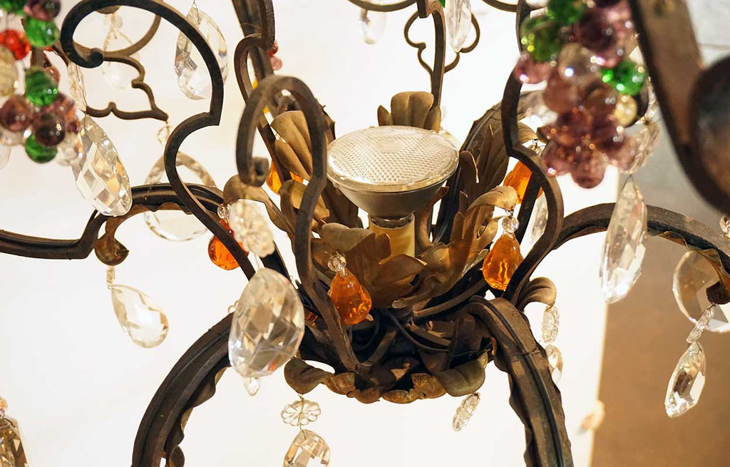 Large Italian Venetian Wrought Iron Crystal And Colored Fruit Drop 20 Light Chandelier
