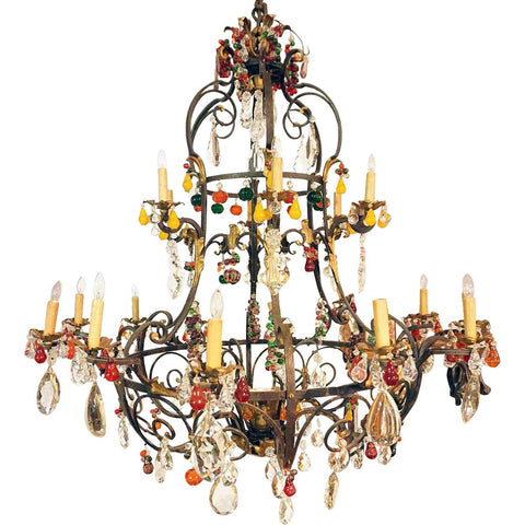 Large Italian Venetian Wrought Iron, Crystal and Glass Fruit 20-light Birdcage Chandelier