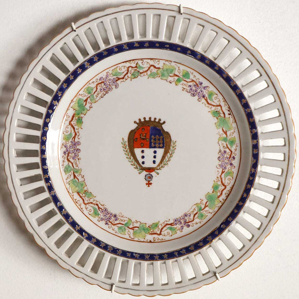 Set of Four Portuguese Chinese Export Style Porcelain Armorial Reticulated Plates