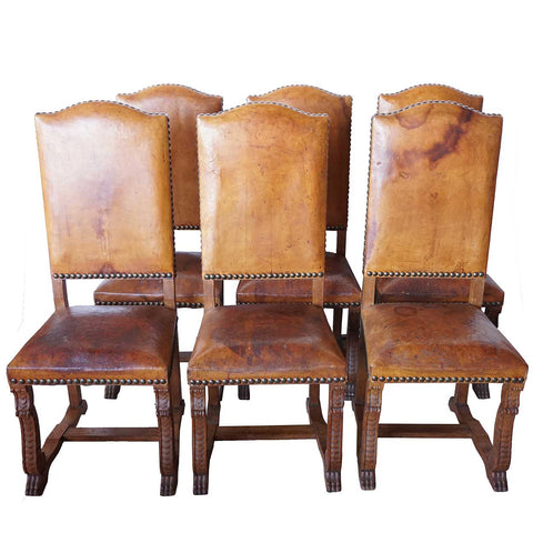 Set of 6 French Louis XIII Style Leather and Oak Dining Side Chairs