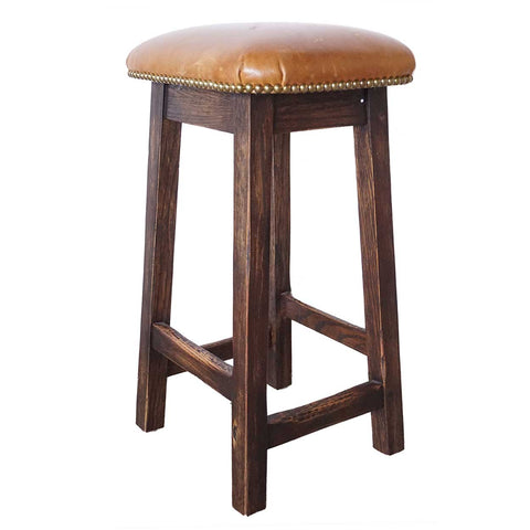 English Arts and Crafts Style Oak and Leather Custom Crafted Bar Stool