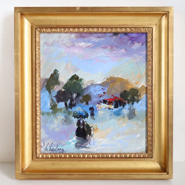 PINO LA VARDERA Oil on Artist's Board Painting, Figures Strolling in the Rain