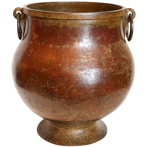 Large South Indian Hammered Copper and Brass Footed Water Storage Pot / Planter