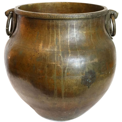 Large South Indian Hammered Brass Ring Handle Water Storage Pot / Planter