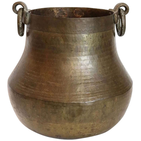 South Indian Hand Hammered Brass Ring Handle Water Storage Pot / Planter