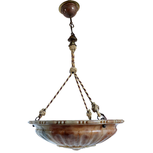Italian Art Deco Alabaster Bowl-Form Three Light Pendant Light