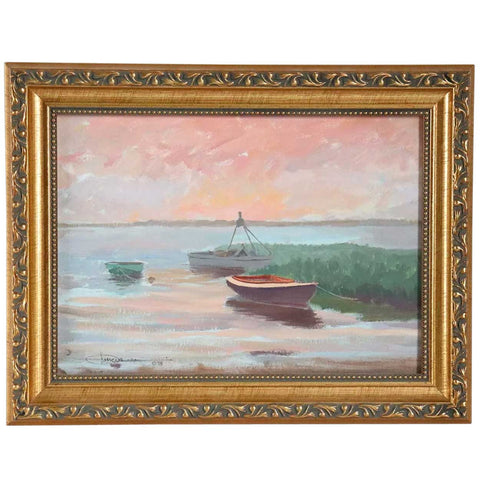 Signed American Oil on Artist Board Painting, Shoreline Boat Scene
