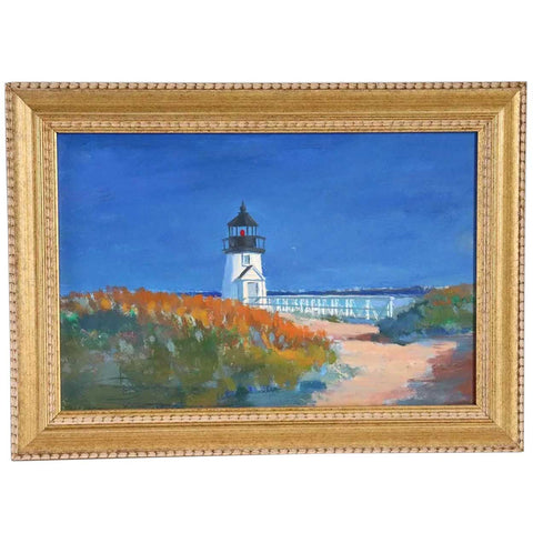 Small Signed American Oil on Artist's Board Painting, Brant Point Lighthouse, Nantucket