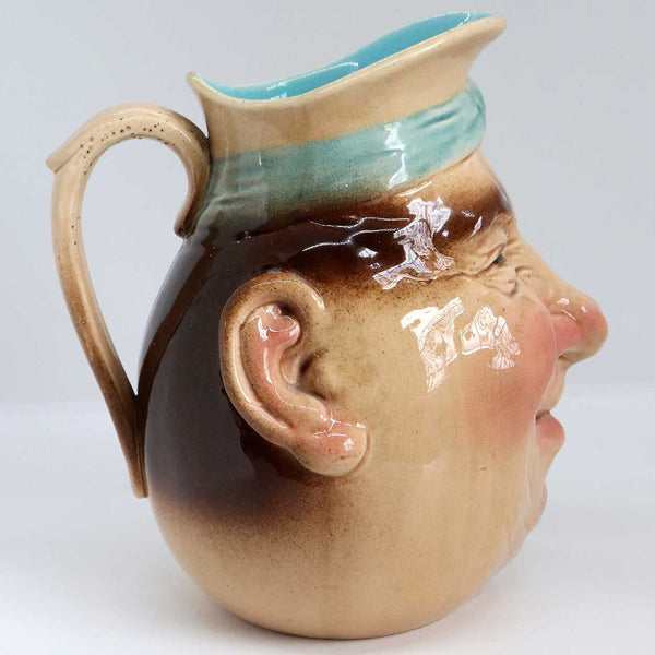 Large French Sarreguemines Majolica Pottery Jolly Fellow Face Character Jug