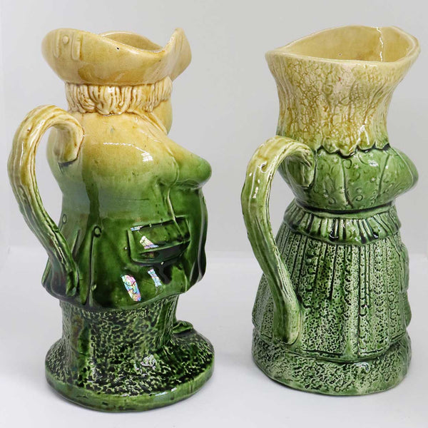 Rare Pair of English Sharpe Brothers & Company Majolica Pottery Toper Toby Jugs