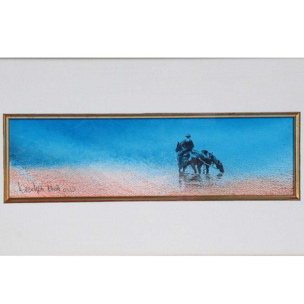 LINDA LOESCHEN Watercolor Painting, American West Landscape with Man on Horseback