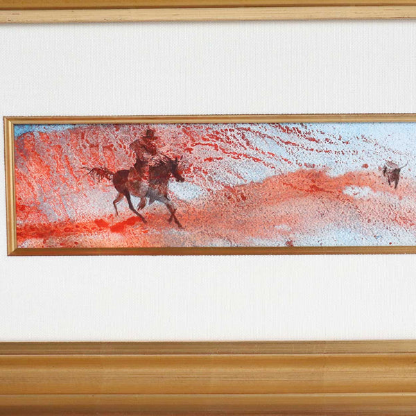 LINDA LOESCHEN Watercolor Painting, American West Landscape with Cowboy and Steer