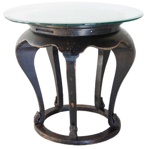 Chinese Qing Black Elm and Glass Round Five-Leg Center Table