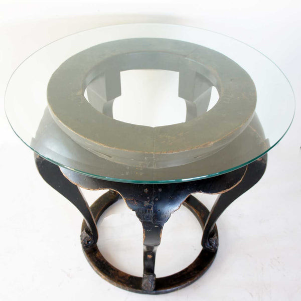 Chinese Glass Top Elm Center Table