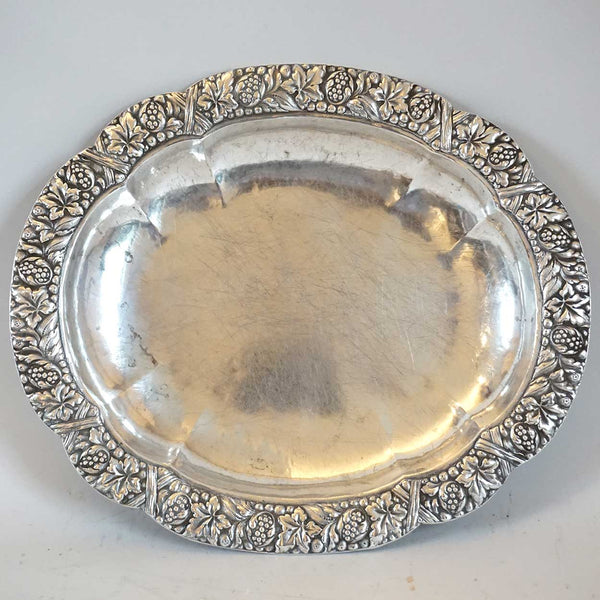 German/Austrian Silver Repousse Oval Serving Dish