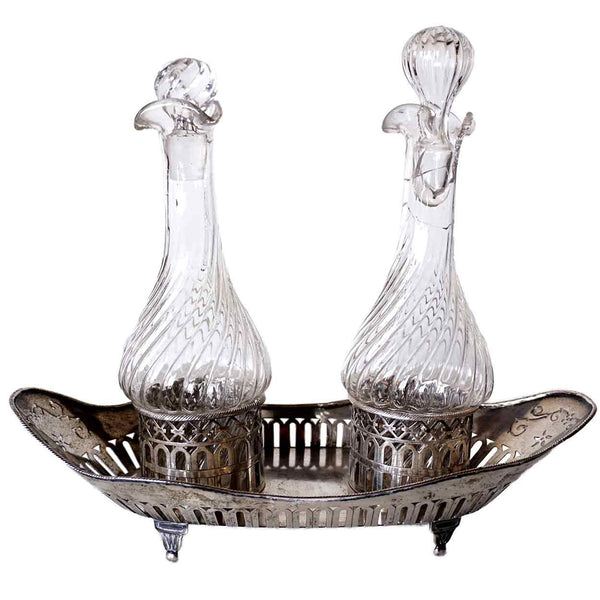 French or German Neoclassical Silver and Glass Two-Bottle Cruet Set
