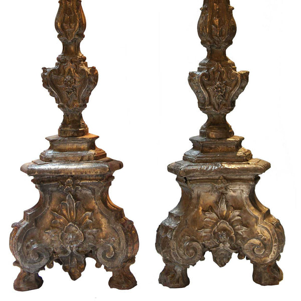 Rare Pair of Indo-Portuguese Silver Repousse Candlesticks