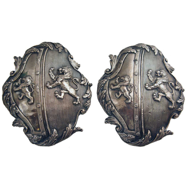 Pair of English George III Silver-Plated Carriage Plaques