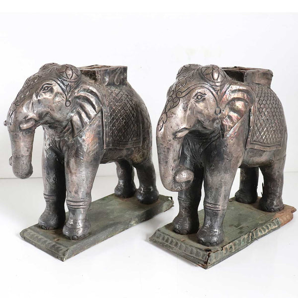 Pair of Indian Silver Mounted on Teak Elephant Statues