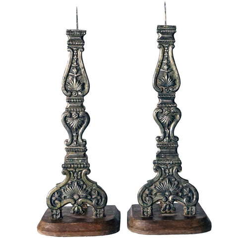 Large Pair of Indo-Portuguese Baroque Style Silver Mounted Altar Candlesticks