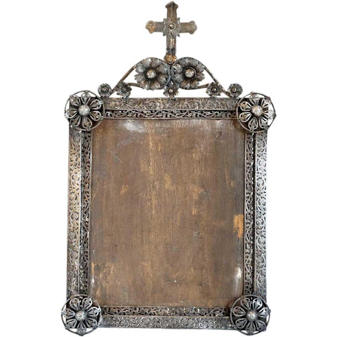 Small Indo-Portuguese Silver Mounted Reticulated Frame