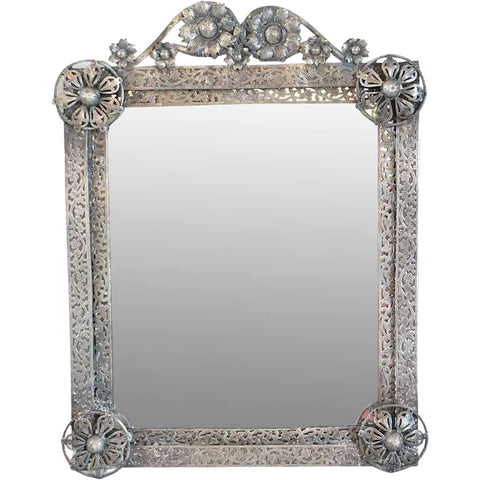 Small Indo-Portuguese Silver Mounted Teak Framed Mirror