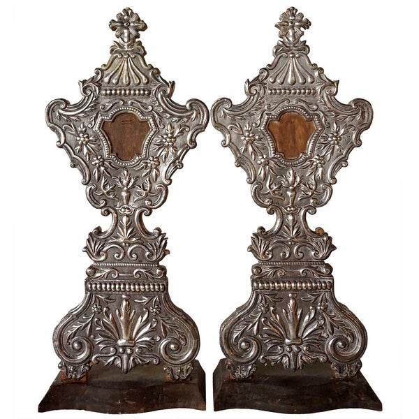 Large Pair of Indo-Portuguese Silver Mounted Reliquaries