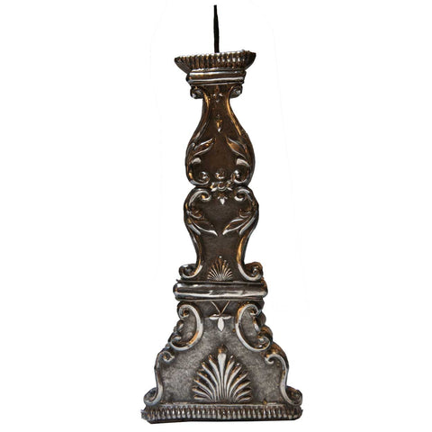 Indo-Portuguese Silver Mounted Teak Candlestick
