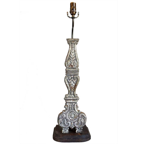 Indo-Portuguese Silver Mounted Candlestick as a Table Lamp