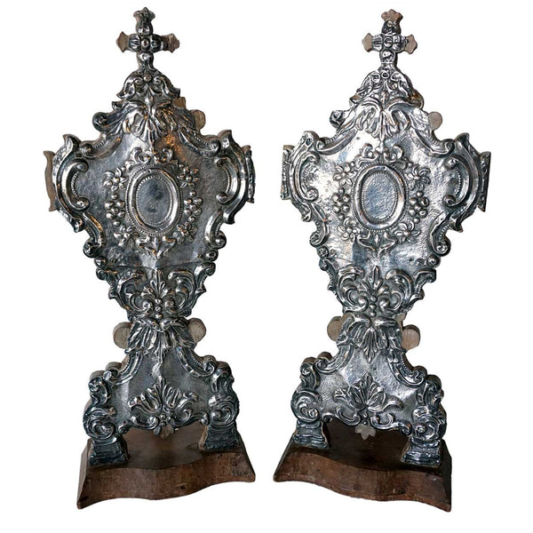 Rare Pair of Indo-Portuguese Silver Mounted Reliquaries