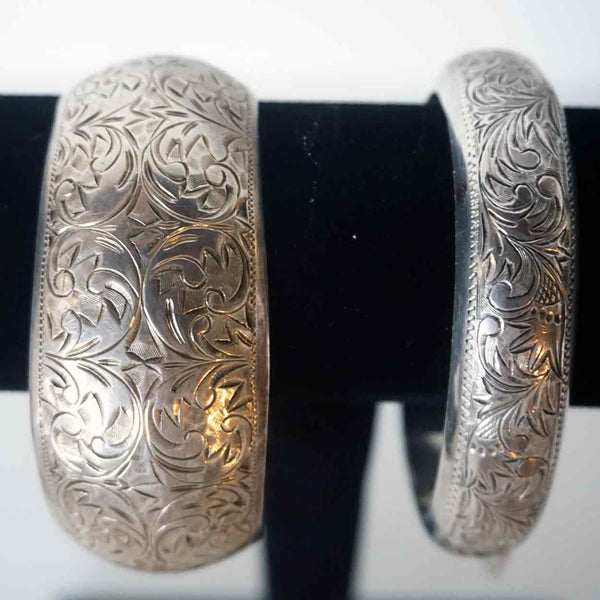 Three Vintage Engraved Silver Bracelets